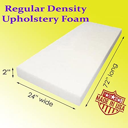 AK-Trading Upholstery Foam Cushion Medium Density 1 Height x 24 Width x 72 Length Made in USA Home or Commercial Use Seat Replacement Foam Cushion