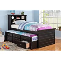 Twin Bed with Trundle in Black Finish by Poundex