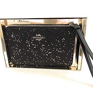 Coach Boxed Crossgrain Leather Top Zip Star Glitter Wristlet Clutch F38641 Small