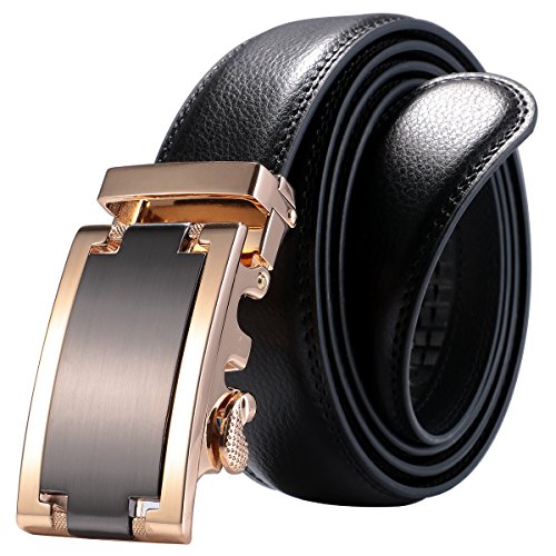 ManChDa Men's Black Dress Adjustable Leather Belt Auto Lock Buckle Up To 49.2 inch