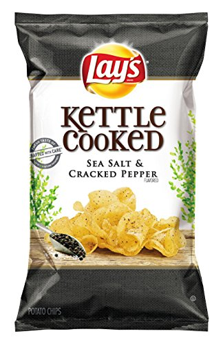 Lay's Kettle Cooked Chips, Sea Salt and Cracked Pepper, 32 Ounce (Pack of 4)
