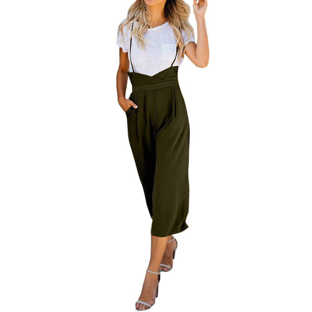 【MOHOLL】 Women 2 Pieces Outfits Suit T-Shirt Top + Strapless Gallus Wide Leg Long Jumpsuit Rompers Pocketed Ankle Overalls Army Green
