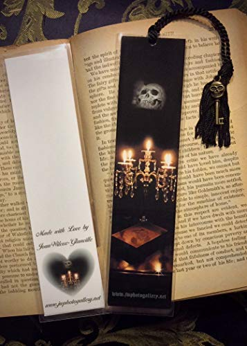 Crystal Candelabra Candles Skull Gothic Scary Spooky Photo Halloween Autumn Fall Bookmark w/Skull Skeleton Key Fine Art Photography Photo Laminated Handmade Bookmark -