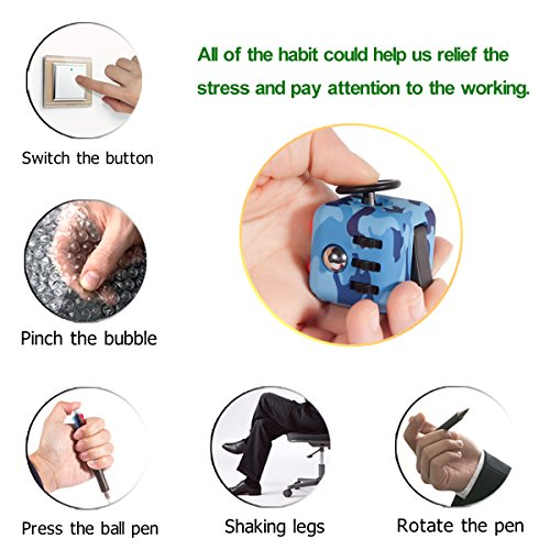 Tepoinn Fidget Attention Cube Relieves Stress and Anxiety Educational Development Toys for Children and Adults, Camouflage blue - 3