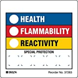 Brady 37283LS Hazardous Communication and Right-to-know Labels, Coated, Paper, 3.875'' x 3.87'', Black/Blue/Red/Yellow On White (Pack of 100)