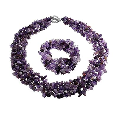Bling Jewelry Multi Strands Simulated Amethyst Chips Cluster Necklace and Bracelet Set Silver Plated hot sale