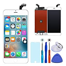 KAICEN iphone 6 lcd touch Screen Replacement LCD Display Digitizer Frame Assembly Full Set with Tools and Toughened glass protective film 4.7 inches (White)