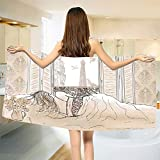 Paris Bath Towel Parisian Woman Sleeping with The View of Eiffiel Tower from Window Romance Skecthy Modern Bathroom Towels Cream Size: W 27.5'' x L 64''