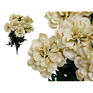 Tableclothsfactory 4 Bushes California Zinnia Artificial Wedding Craft Flowers - Champagne 3