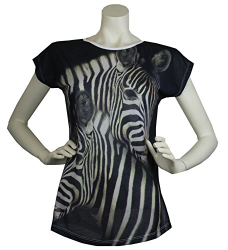 Aprom-Sports Damen T-Shirt Zebra Motiv - Loose Fit - Mode Clubwear Streetwear DTS-003