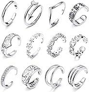 Thunaraz 12Pcs Open Toe Rings for Women Arrow Adjustable Toe Band Ring Gifts Beach Foot Jewelry Set