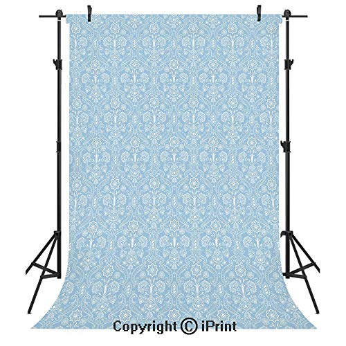 Blue Damask Photo Card - Light Blue Photography Backdrops,Ancient Foliage Baroque Damask Inspired Delicate Old Fashioned Revival Art,Birthday Party Seamless Photo Studio Booth Background Banner 5x7ft,Light Blue White