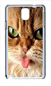 Samsung Galaxy Note 3 N9000 Cases & Covers -Brown Cats Tongue Animal Custom PC Hard Case Cover for Samsung Galaxy Note 3 N9000¨C White