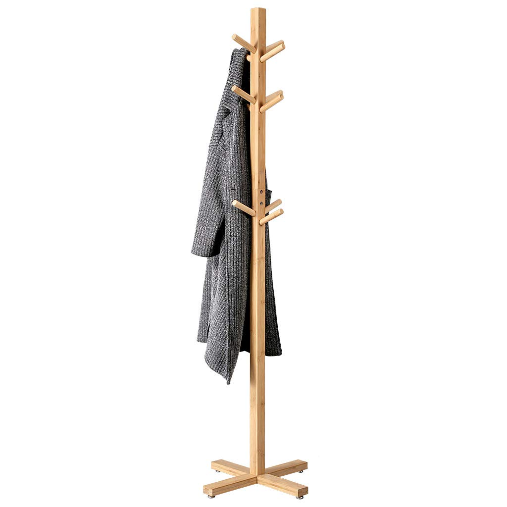 LANGRIA Coat Hook Bamboo Wooden Coat Rack and Hook Rack with 3 Tiers 12 Hooks and Solid Feet Hall Tree Coat Rack for Clothes Scarves and Hats, Bamboo Natural Color