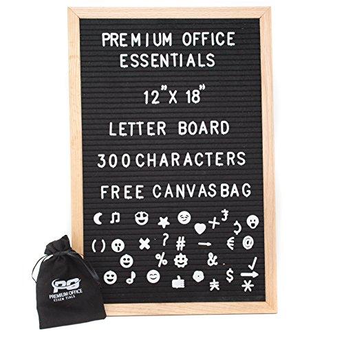 Arrow Letter Locker (Premium Office Essentials   Changeable Felt Letter Board 12x18 Inch 100% Oak Wood Frame with Soft Black Felt. Includes 300 White Letters, Numbers & Emojis Plus Free Canvas Bag)