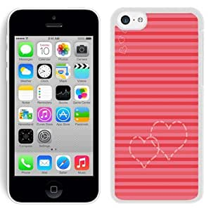 NEW Unique Custom Designed iPhone 5C Phone Case With Heart Lines Valentines_White Phone Case