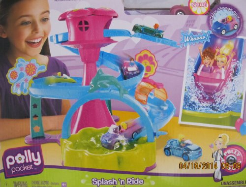 POLLY POCKET 'SPLASH 'n RIDE' Playset w COLOR CHANGE CAR & MORE! (2008 POLLY ()