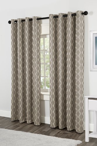 Exclusive Home Curtains Baroque Textured Linen Look Jacquard Grommet Top Window Curtain Panel Pair, Natural, (Textured Naturals Pattern)