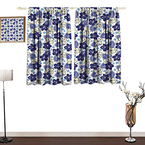 home1love Polyester Curtain Hawaii Tropical Climate Foliage Hibiscus Abstract Nature Exotic Plumeria Breathability W72 xL72