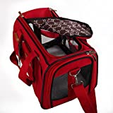 Soft Sided Pet Travel Carrier Airline Approved Pet Portable handBag for Dogs Cats and Puppies Red