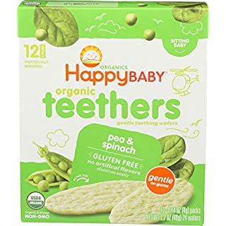 Happy Family Baby Organic Teething Wafers, Pea & Spinach, 1.7 oz