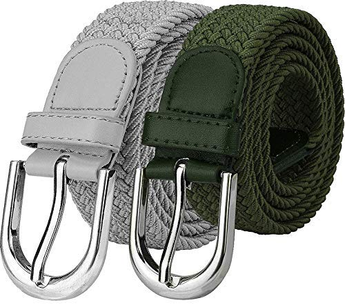 Uniq World Stretchable Braided Canvas Cotton Belt for Women Men Ladies Girl Belt Green and Grey Color Combo Formal Casual Belt (Stretch Belt-071)