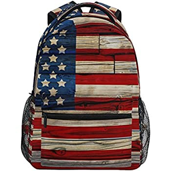 ZZKKO American USA Flag Wooden Style Backpacks College School Book Bag  Travel Hiking Camping Daypack a249a88833
