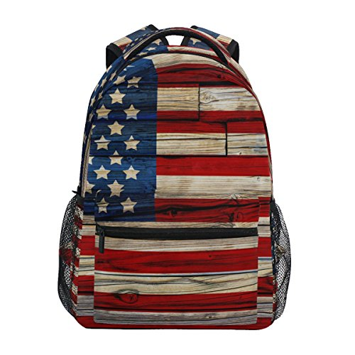 ZZKKO American USA Flag Wooden Style Backpacks College Schoo