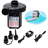 Leegoal Electric Air Pump, Quick-Fill Automatic Portable Air Mattress Pump Fast Inflator Deflator Pump with 3 Nozzle Adapters for Pools, Mattress, Boats, Raft, Airbeds, 110V AC/12V DC