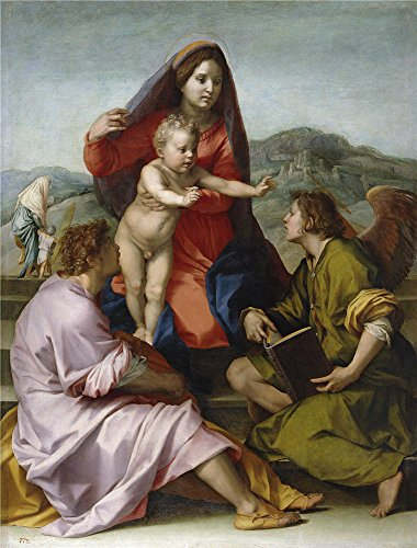 Oil Painting 'Sarto Andrea Del The Virgin And Child Between Saint Mathew And An Angel Ca. 1522' 30 x 40 inch / 76 x 100 cm , on High Definition HD canvas prints, Bath Room, Nursery And Study R decor by LuxorPre