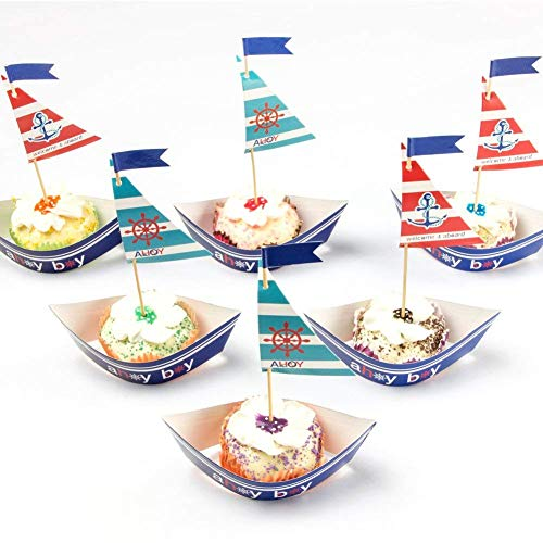 PAPER JAZZ Nautical Party AHOY ocean theme Cupcake Toppers for Baby Boy Birthday Baby Showers Event Party Decoration sailboat