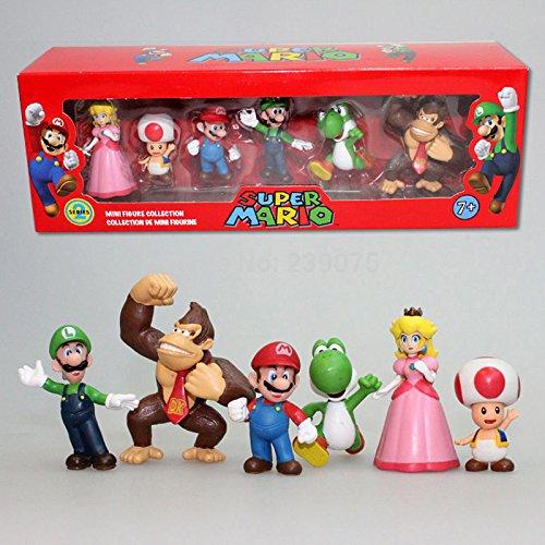 Generic Toy Super Mario Bros Peach Toad Mario Luigi Yoshi Donkey Kong PVC Action Figure Toys