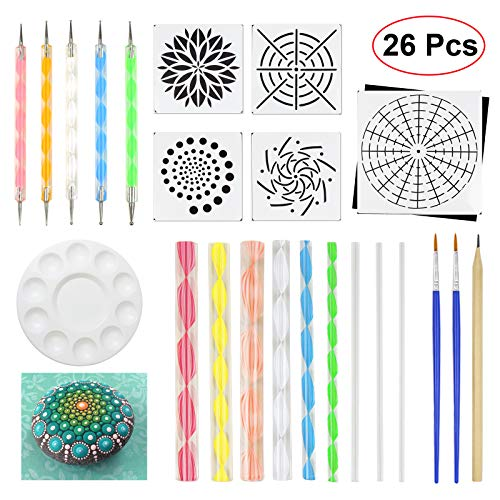 JOFAMY Mandala Dotting Tools 26 Pcs Dots Art Tools for Rock Canvas Painting, Dots Painting Tools Including Acrylic Rods, Mandala Dotting Stencils, Paint Tray, Brushes etc; Perfect Gift for Christmas