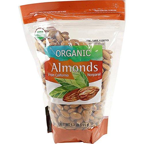 Kirkland Signature Organic Non Pareil Almonds from California Resealable Bag - 1.7 (Non Pareil Almonds)