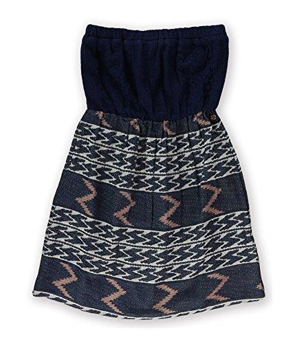 Dress Tube Juniors (Roxy Juniors Jasmine Strapless Tube Dress, Intarsia Peacoat Pattern, Small)