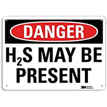 """Smartsign U3-1541-RA_14X10""""DANGER H2S MAY BE PRESENT"""" Reflective Recycled Aluminum Sign, 14"""" x 10"""""""