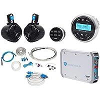 Rockville RGHR2 Marine Bluetooth Receiver+Remote+6.5 Wakeboards+Amplifier+Wires