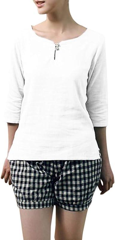 Camisas De Algodón Y Lino Color Sólido Cuello Redondo para ...