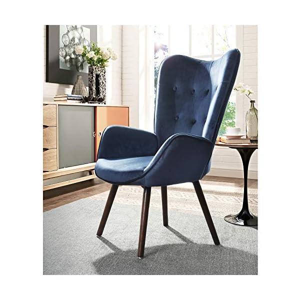 MEUBLE COSY Fauteuil , Bleu Velours /68.5*33.5*75cm