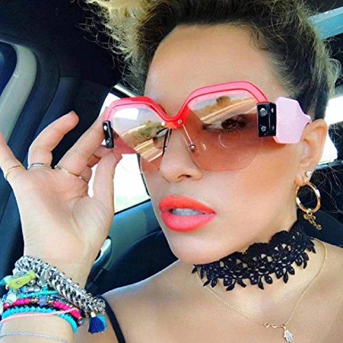 YABINA Semi Rimless Sunglasses For Women Trendy Candy Color Designer Glasses ()