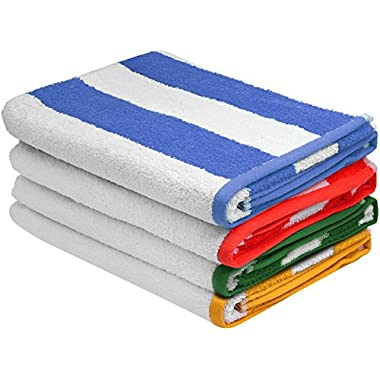 Large Beach-Towel Pool-Towel in Cabana Stripe, 4-Pack, 100% Cotton, Easy Care, Maximum Softness and Absorbency (30  x 60 ) - by Utopia Towels (Variety)