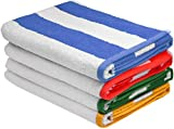 Large Beach-Towel Pool-Towel in Cabana Stripe, 4-Pack, 100% Cotton, Easy Care, Maximum Softness and Absorbency (30″ x 60″) – by Utopia Towels (Variety)