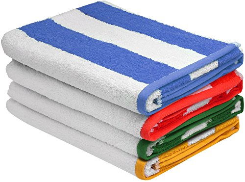 Large Beach-Towel Pool-Towel in Cabana Stripe, 4-Pack, 100% Cotton, Easy Care, Maximum Softness and Absorbency (30