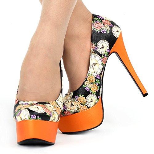 Show Heel High Dress Platform Orange Story Floral LF80839 Pumps Colock Elegant Stiletto ZaqTOZw