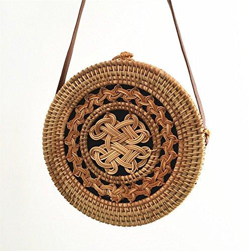 Handwoven Rattannatural Beach Handbag Bag For Rattan Straw Crossbody Summer Anuan Bags Round Shoulder Women's aqYIxBY
