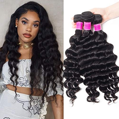 RECOOL Brazilian Hair Loose Deep Wave Bundles 10A Wet and Wavy Virgin Human Hair Weave Bundles Natural Color Real Good Quality Hair(18 20 22)