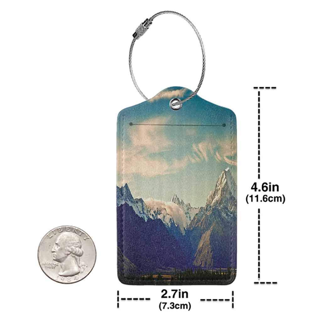 Printed luggage tag Apartment Decor Collection New Zealand Scenic Mountain Shot at Mount Cook National Park Alpine Panorama Picture Protect personal privacy Navy Blue W2.7 x L4.6