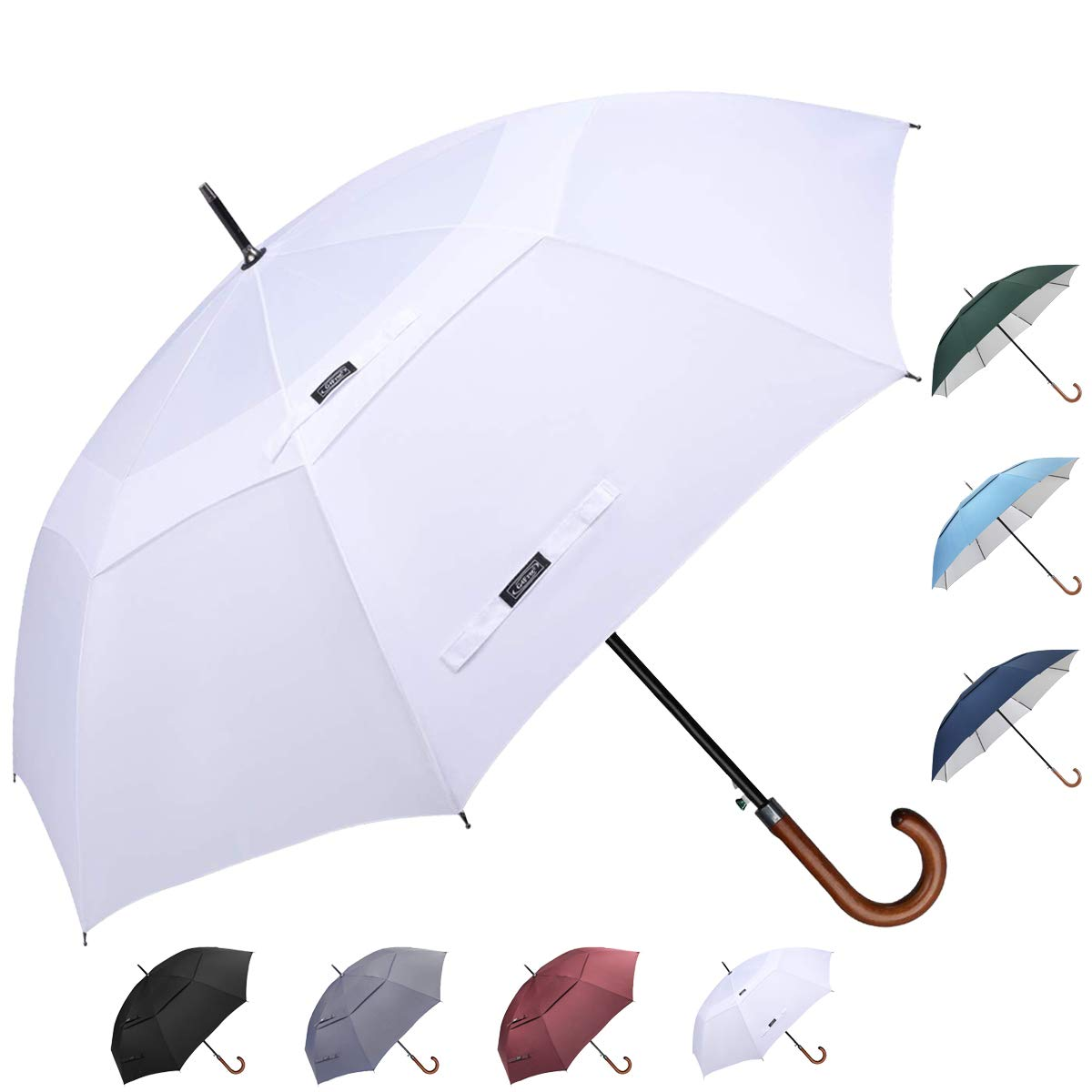 G4Free Wooden J Handle Classic Golf Umbrella Windproof Auto Open 52 inch Large Oversized Double Canopy Vented Rainproof Cane Stick Umbrellas for Men Women (White) by G4Free