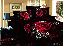 Joybuy Black and Sunflower - Reactive Printed 3d Bed Set 3d Bedding Set Linen Cotton Queen Size 4pcs Comforter Not Included (Flowers_1)