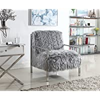Iconic Home Bayla Accent Side Chair Sleek Stylish Faux Fur Brushed Nickel Finished Stainless Steel Frame, Modern Contemporary, Grey